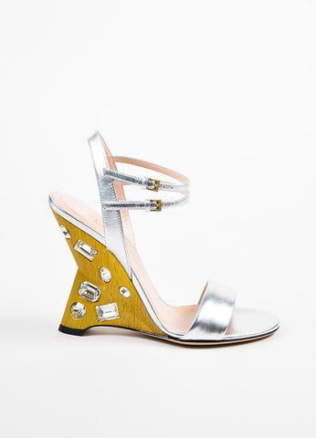 "Silver and Gold Gucci Metallic Jeweled ""Engel"" Wedge Sandals Side"
