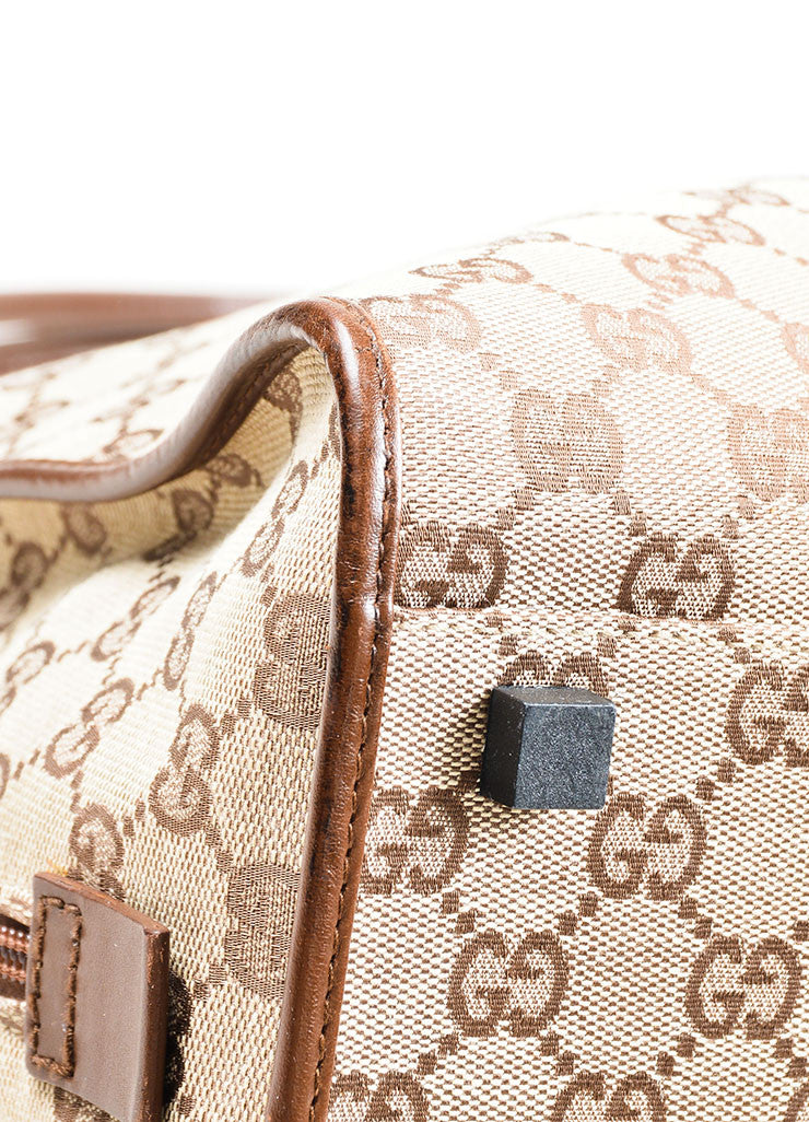 "Tan and Brown Gucci Monogram Canvas and Leather ""Bardot"" Zip Extra Large Shoulder Bag Detail"
