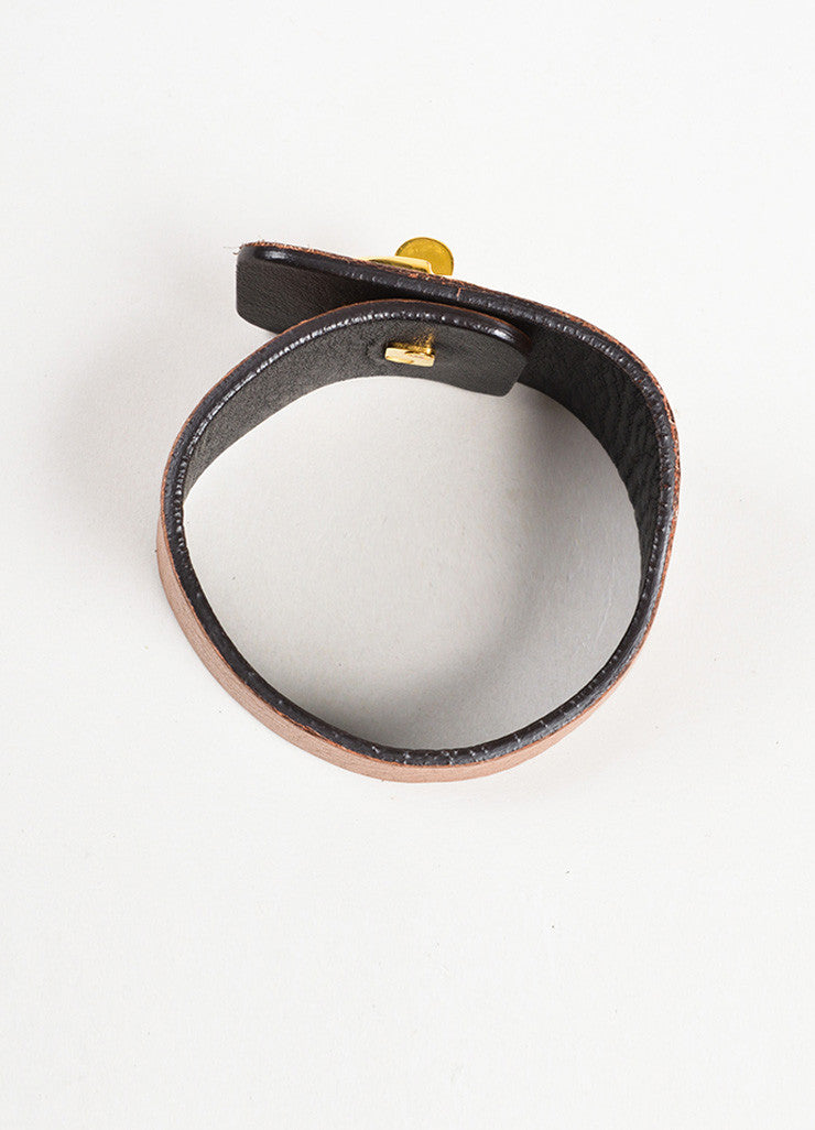 Gucci Tan and Gold Toned Leather 'GG' Logo Turn Lock Wide Cuff Bracelet Topview
