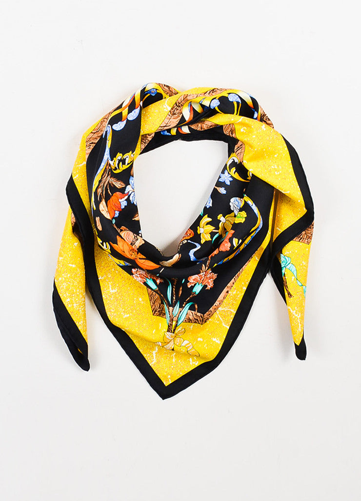 "Hermes Black and Yellow Silk ""Pierres d'Orient et d'occident"" Scarf Frontview"