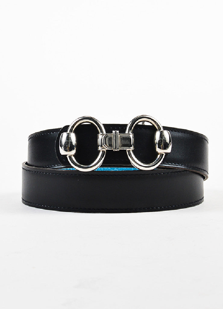 "Hermes ""Bleu Jean"" Blue and Black Clemence Chamonix Leather ""Horsebit H"" Belt Frontview 2"