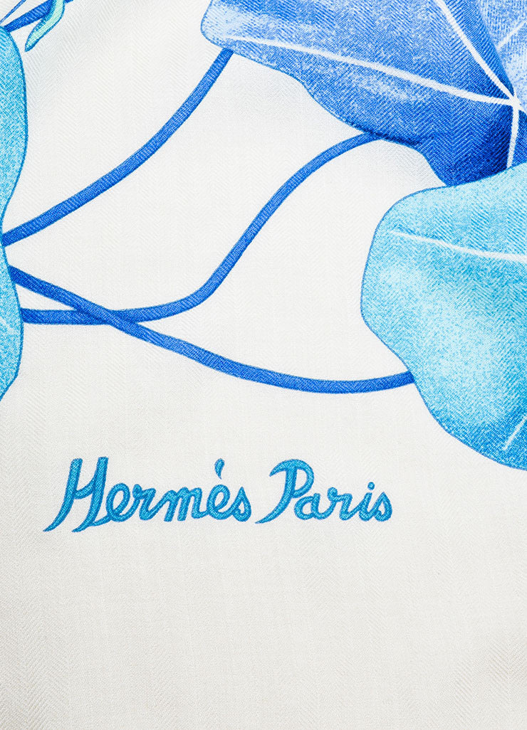 "Hermes ""Les Capucines"" Blue and Cream Cashmere and Silk Scarf Detail 2"
