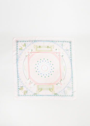 "Hermes Pink and Green Silk ""Chaque Recontre Est Unique"" Square Scarf  Frontview 2"