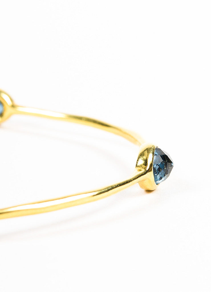 "Ippolita 18K Yellow Gold and Blue Topaz ""Rock Candy"" Bangle Bracelet Detail"