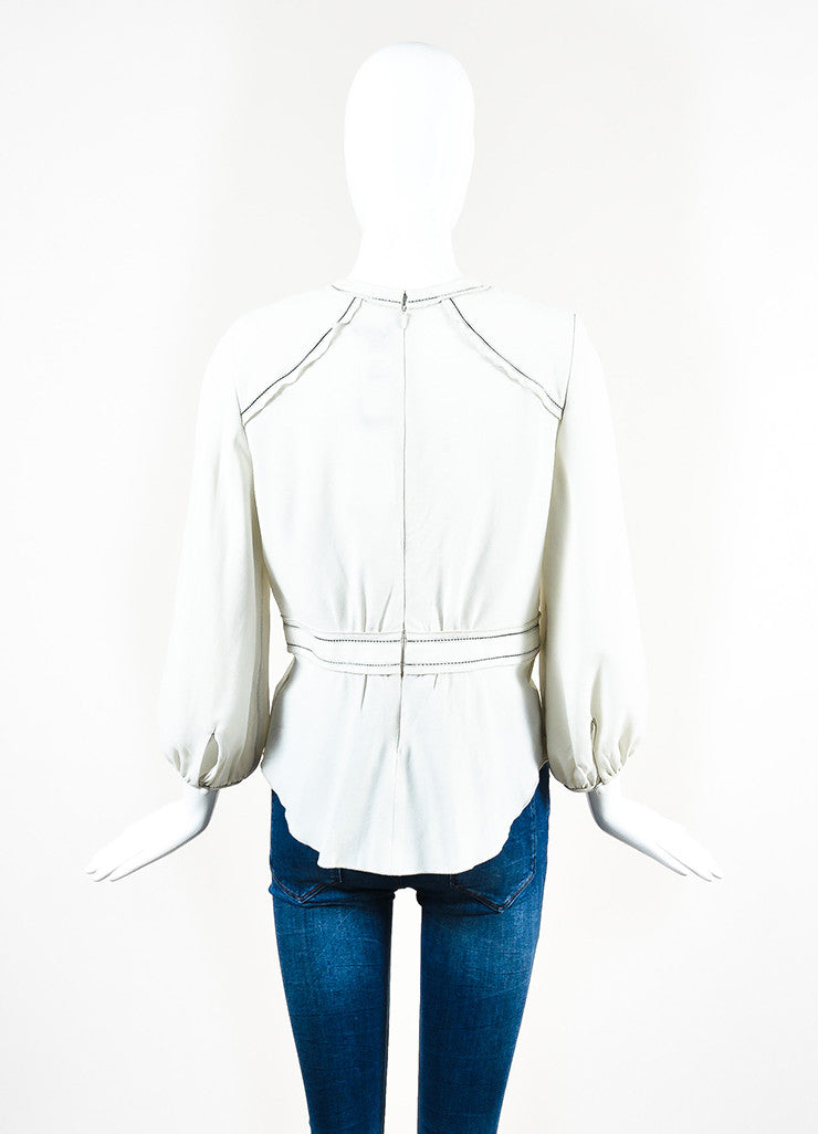 Isabel Marant Off White and Black Crepe Cut Out Trim Long Sleeve Blouse Top Backview