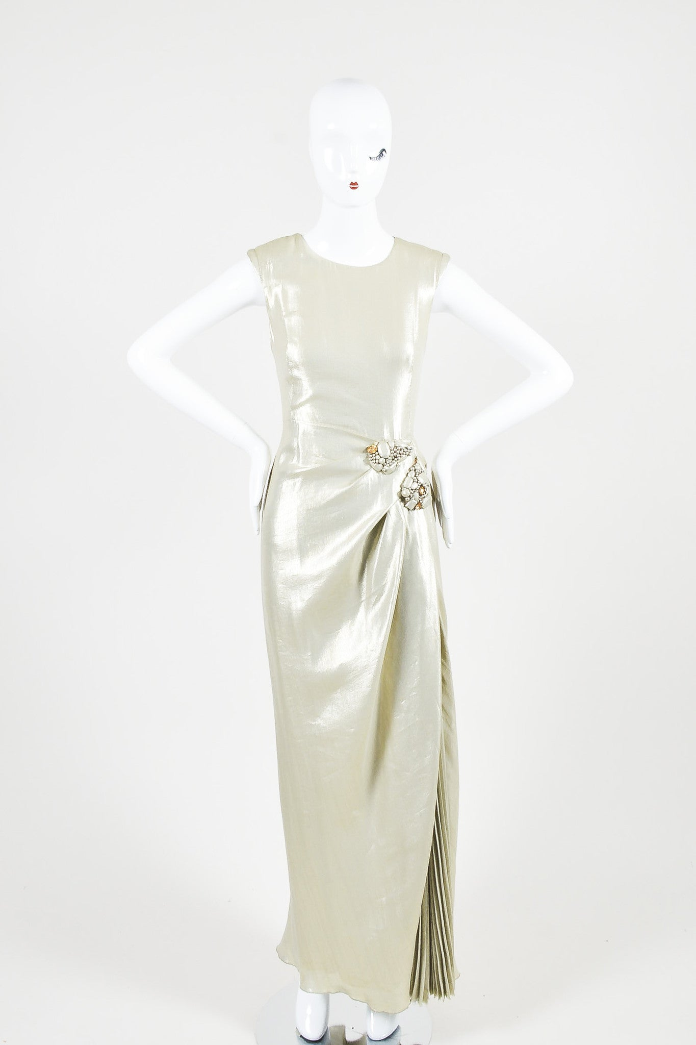 Light Gold Metallic J. Mendel Pleated Beaded Full Length Sleeveless Gown Frontview