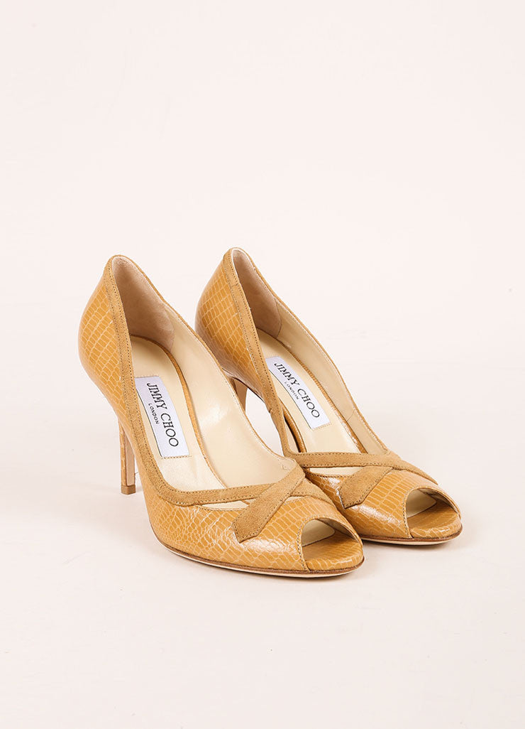 Jimmy Choo New In Box Tan Lizard Embossed Leather Peep Toe Pumps Frontview