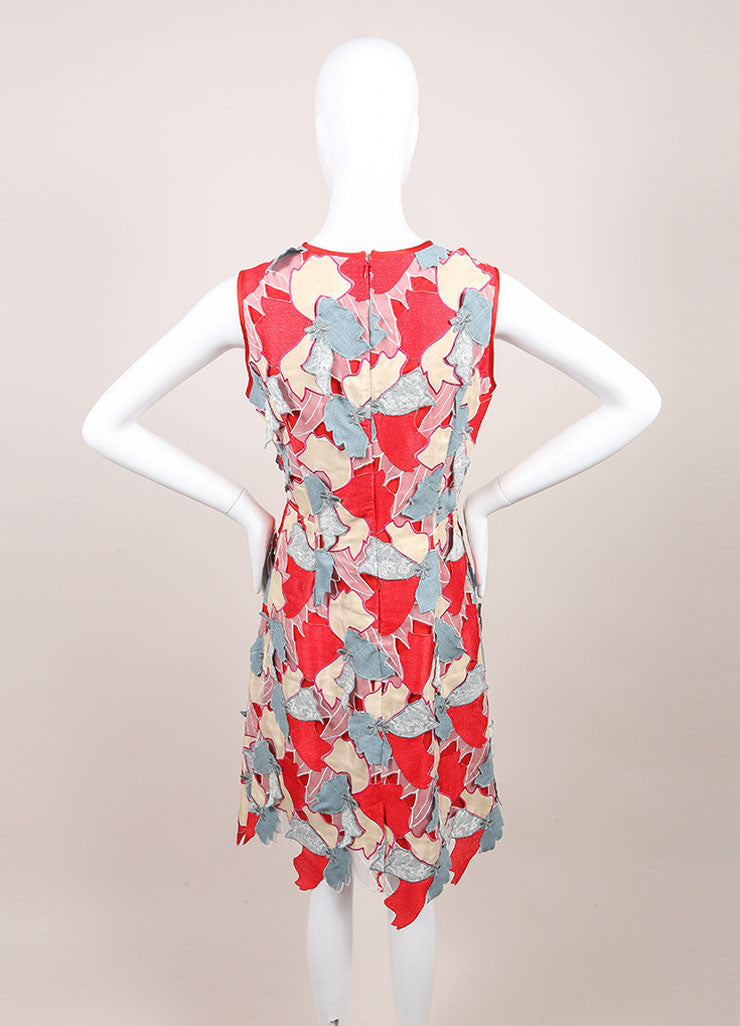 "Jonathan Saunders New With Tags Red and Blue Embroidered Flower ""Samantha"" Dress Backview"