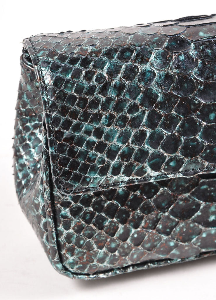 Judith Leiber Black and Teal Snakeskin Chain Strap Clutch Bag Detail 2