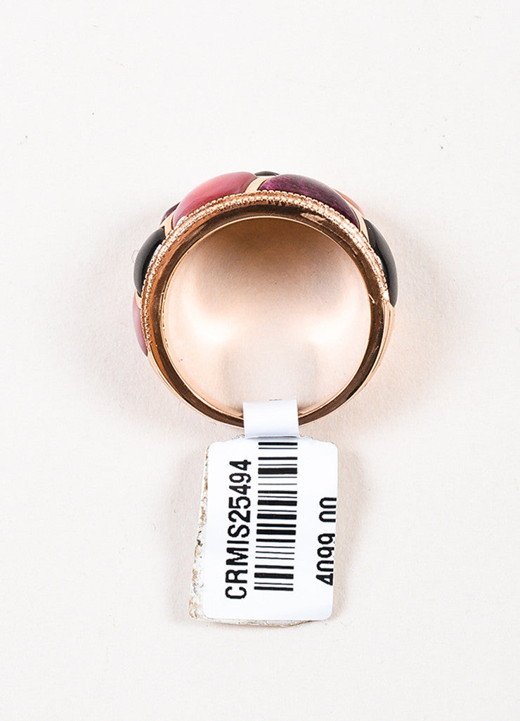 Kabana 14K Rose Gold Pink Mother Of Pearl Diamond Mosaic Ring Topview