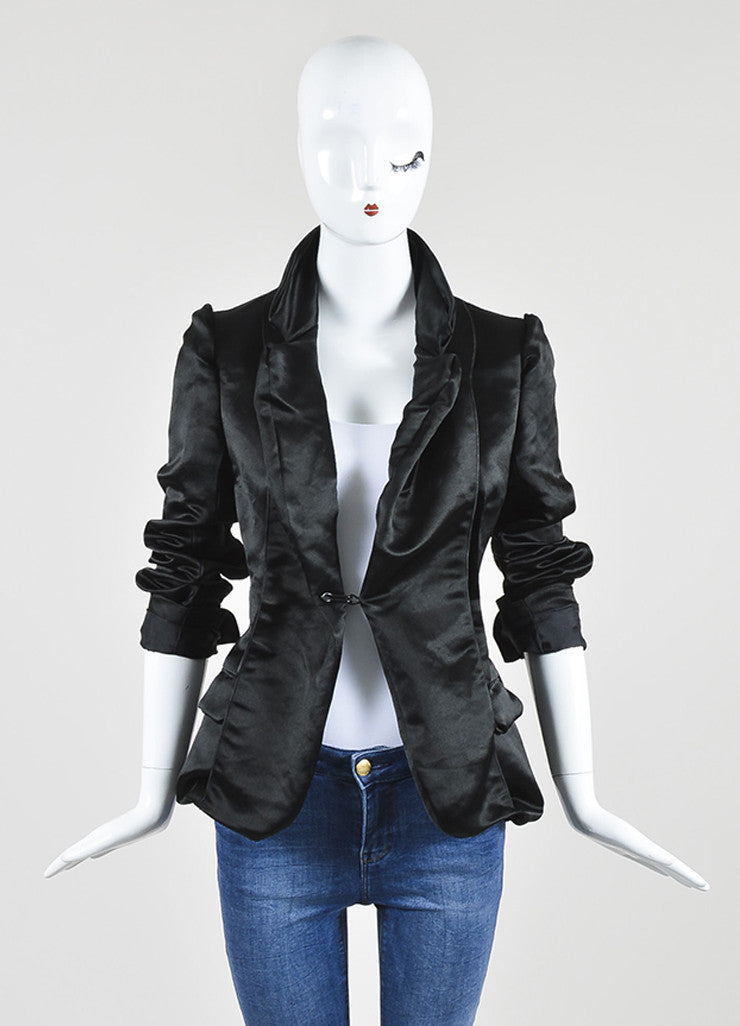 Black Lanvin Woven Silk Structured Seamed Jacket Frontview 2