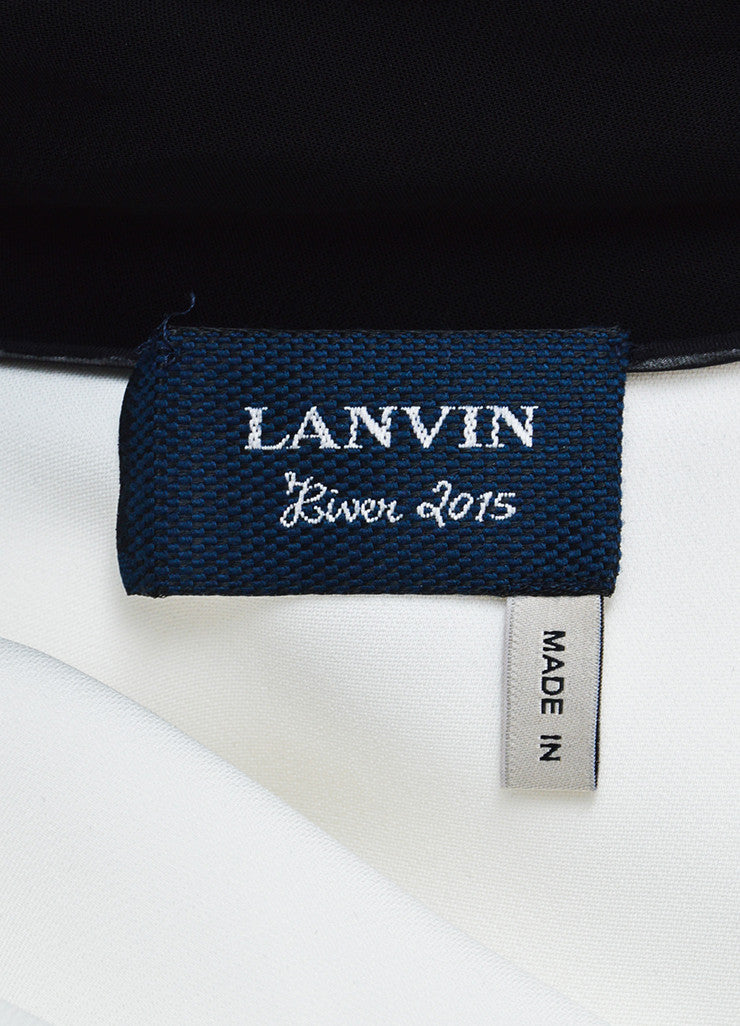 Lanvin White and Black Trim Oversized Necktie Long Sleeve Blouse Brand