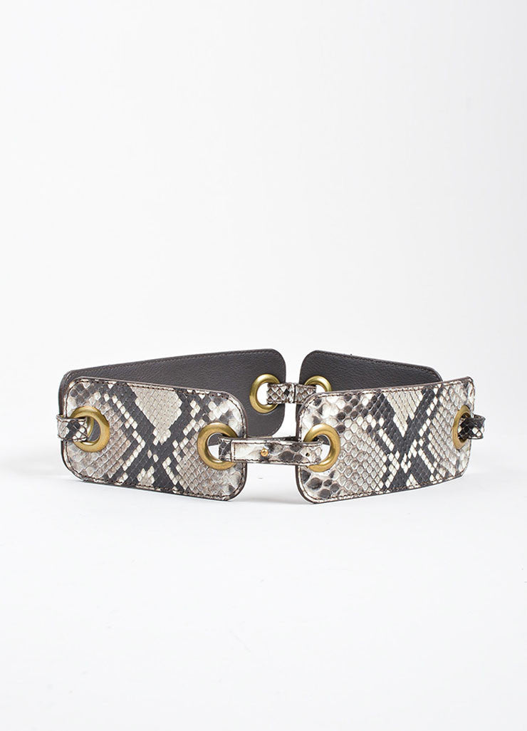 Taupe and Grey Lanvin Python Snakeskin Eyelet Linked Strap Waist Belt Frontview