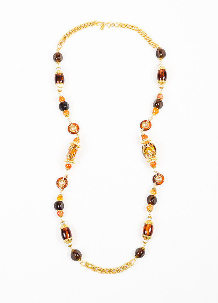Lawrence Vrba Gold Toned Amber Orange Beaded Embellished Strand Chain Necklace Frontview