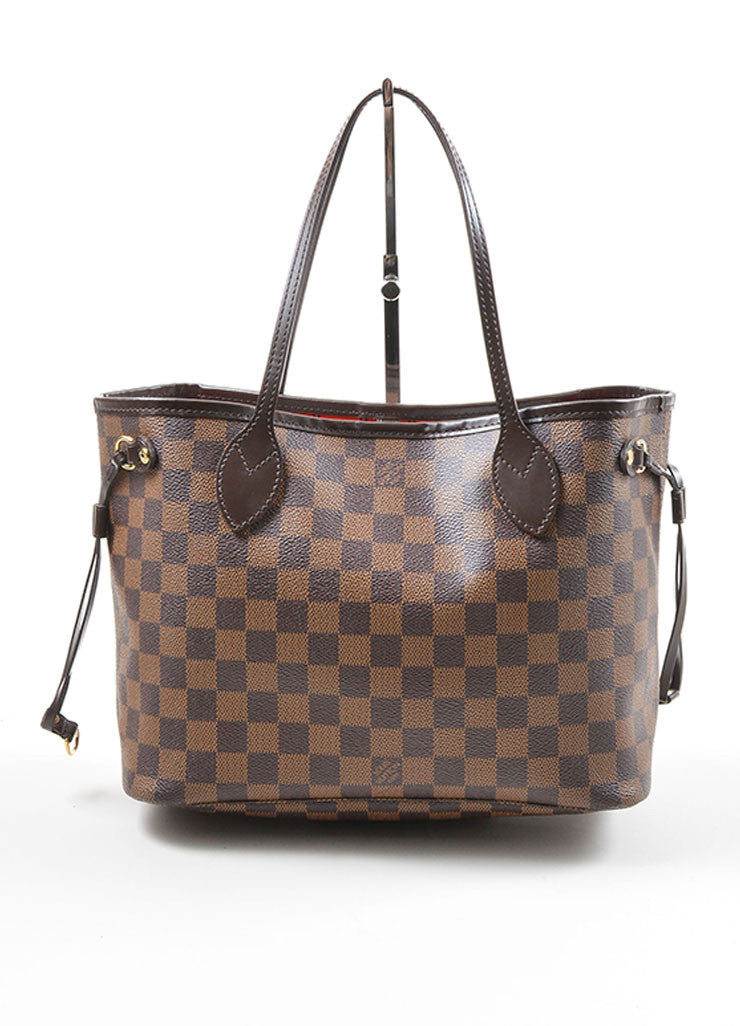 "Louis Vuitton Ebene Brown Damier Checkered ""Neverfull PM"" Tote Bag Frontview"