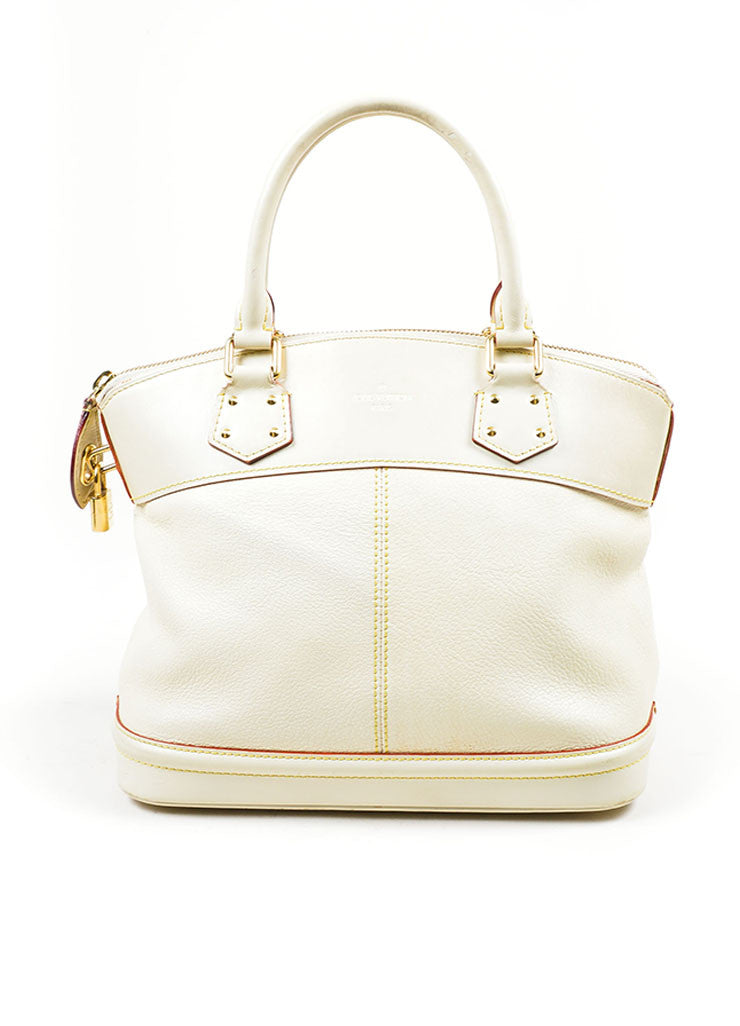 "Cream and Gold Toned Louis Vuitton Suhali Leather Studded ""Lockit PM"" Tote Bag Frontview"