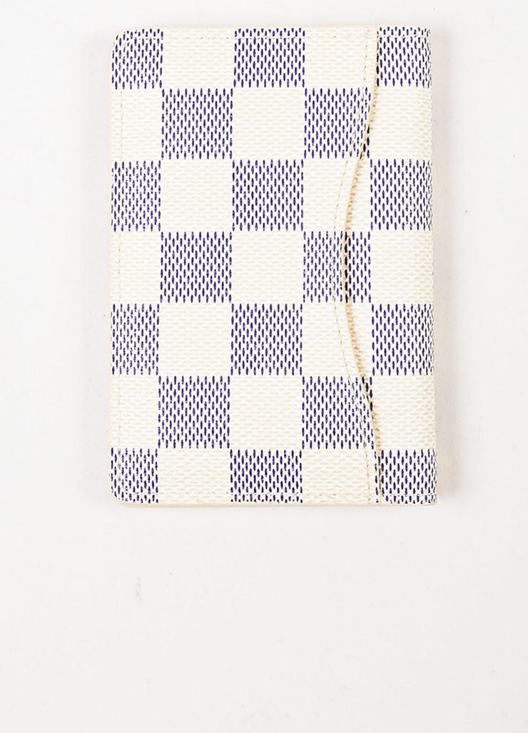 Louis Vuitton White and Navy Coated Canvas Damier Azur Print Pocket Organizer Backview