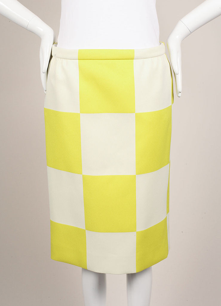 Louis Vuitton Neon Yellow and White Checkerboard Pencil Skirt Frontview