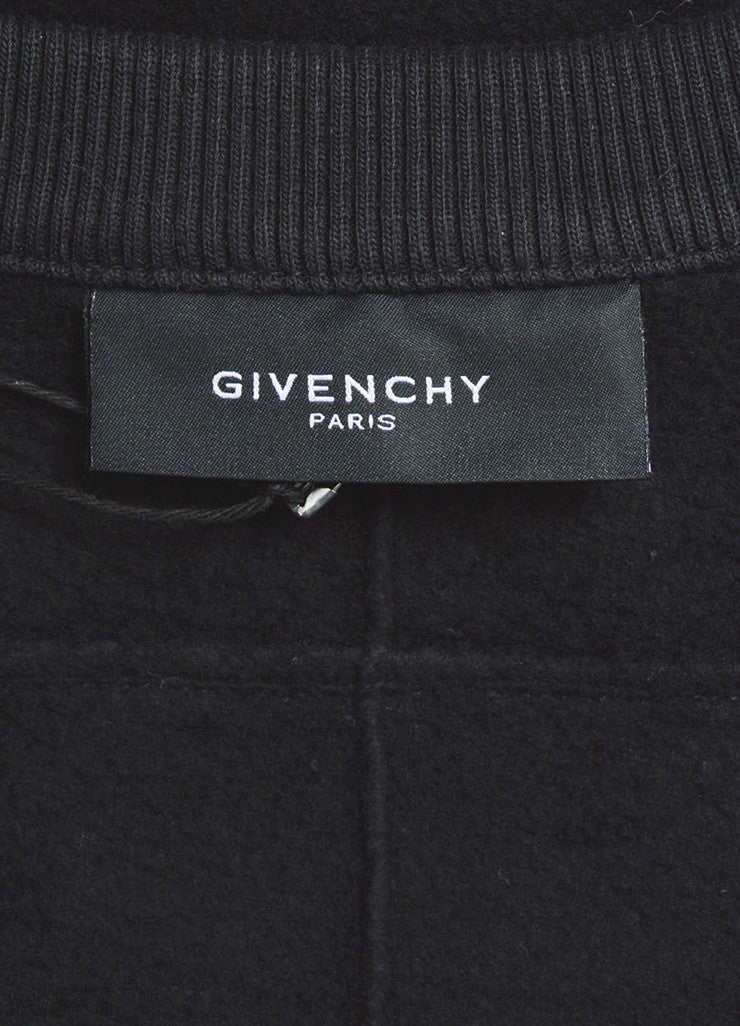 Men's Black Givenchy Leather Sleeve Zip Detail Pullover Sweatshirt Brand