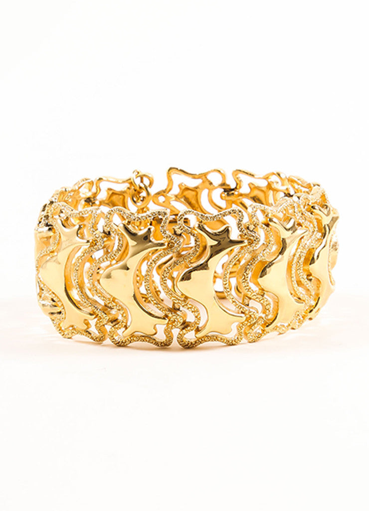 Monet Gold Toned Abstract Textured Chain Link Bracelet  Frontview