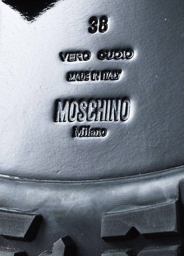 Black Leather and Gold Toned Logo Moschino Couture  Buckled Biker Boots Brand