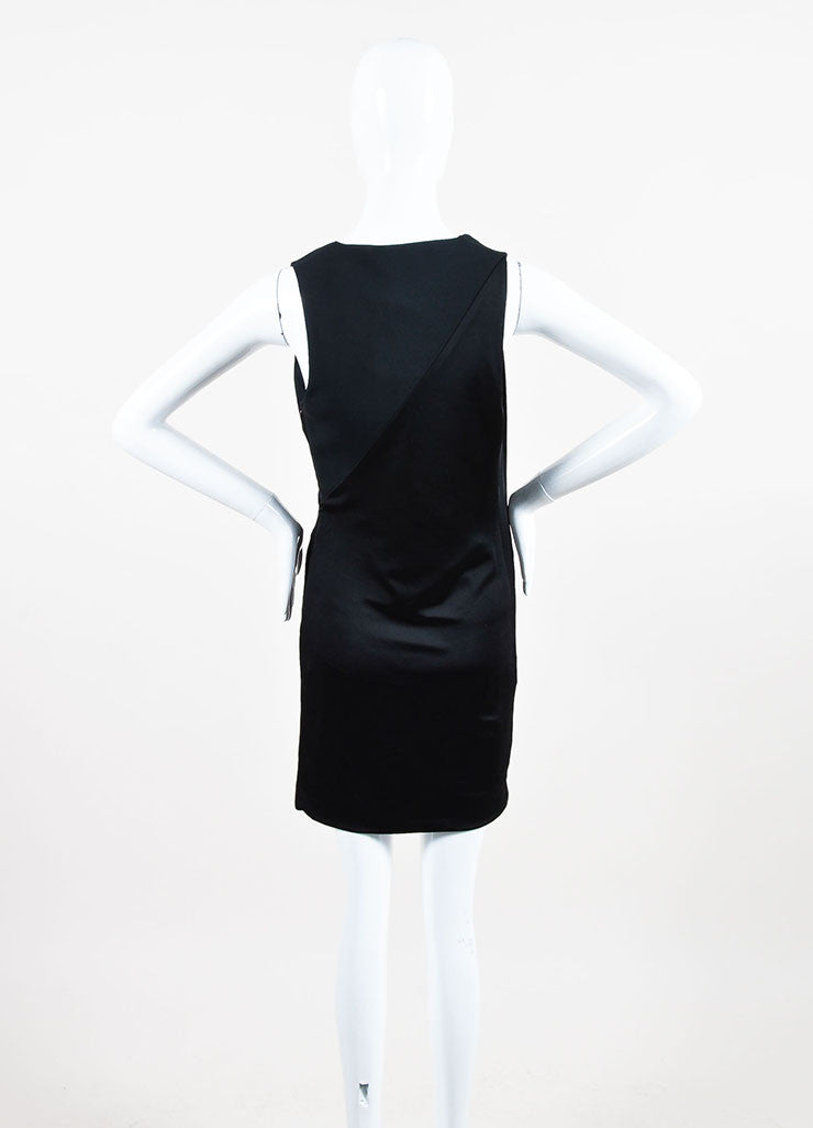 Mugler Black Jersey Draped Plunging V-Neck Sleeveless Cocktail Dress Backview