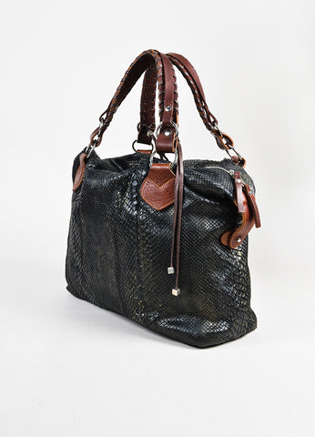 "Pauric Sweeney Gunmetal Grey & Brown Python Leather ""Overnight"" Bag Back"