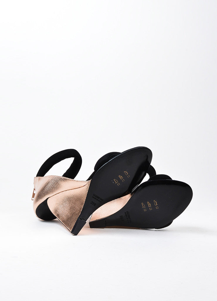 "Pierre Hardy Black and Rose Gold Leather ""Amanda"" Wedge Sandals Outsoles"