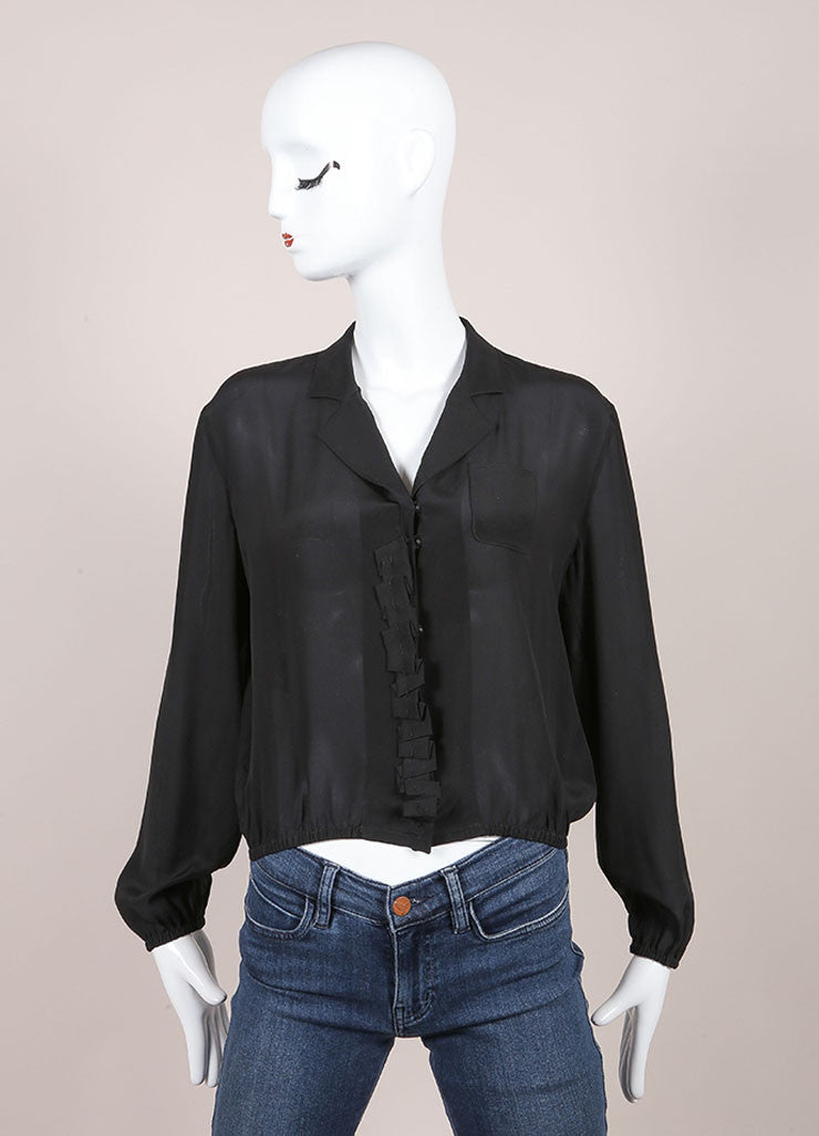 Prada Black Silkly Ruffle Trim Cropped Long Sleeve Top Frontview