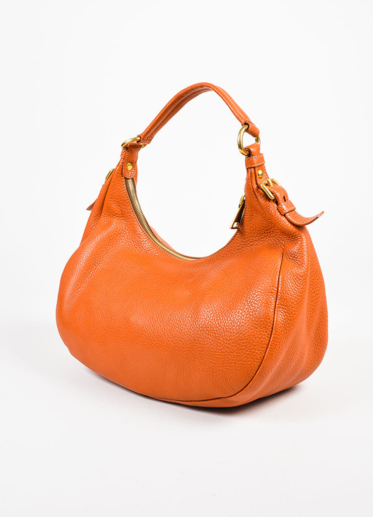 "Prada Burnt Orange Grained Leather ""Vitello Daino"" Hobo Bag Sideview"