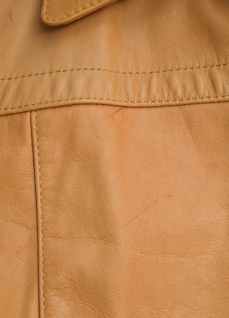 Prada Tan Leather Long Jacket Detail