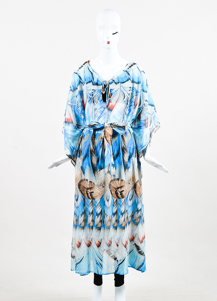 Roberto Cavalli Blue Silk Knit Feather Belted Caftan  Frontview