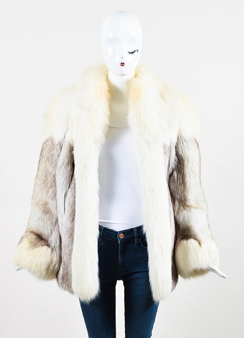 Saga Fox Cream Gray Blue Fox Paneled Color Block Fur Coat  Frontview