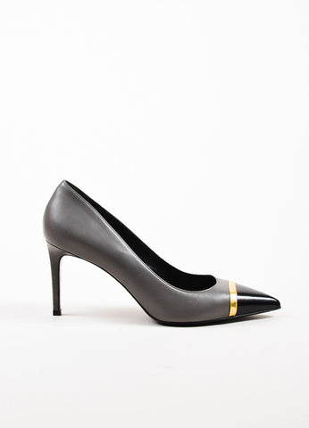 "å´?ÌÜSaint Laurent ""Earth"" Grey, Black, and Gold Toned Cap Toe Pointed Pumps Sideview"