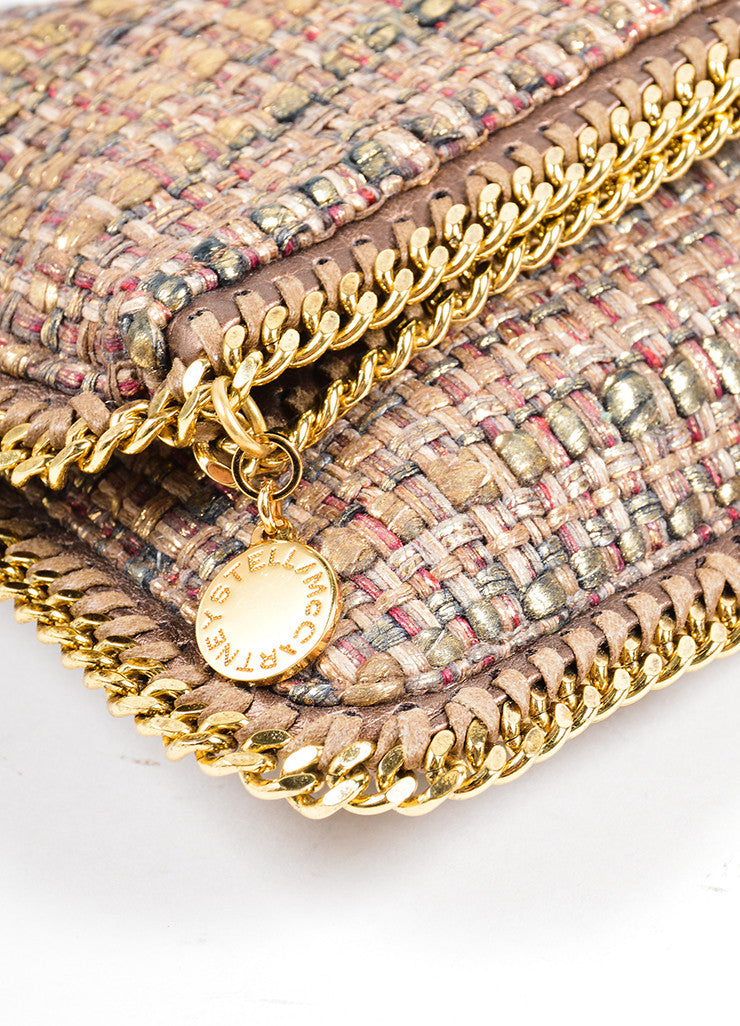 "Stella McCartney Metallic Gold and Brown Tweed ""Boucle Falabella"" Foldover Clutch Bag Detail"