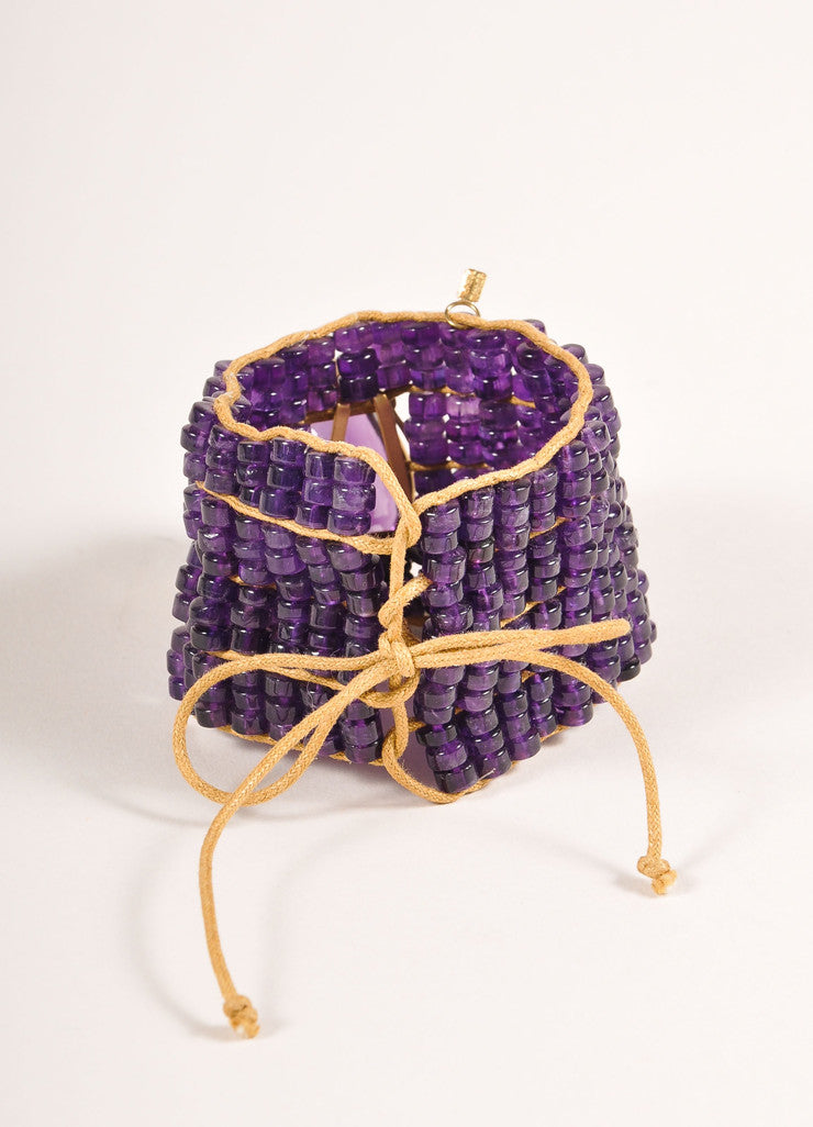 Tereza Xavier Amethyst Purple an Tan Bead and Teardrop Stone Cord Tie Bracelet Backview