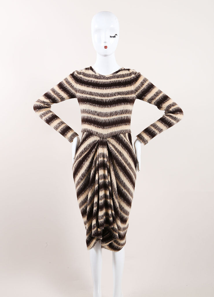 Thakoon New With Tags Tan, Brown, and Grey Woolen Knit Stripe Draped Sweater Dress Frontview