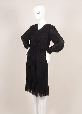 Vintage Bill Blass Black Pleated Elastic Waist Long Sleeve Dress Sideview