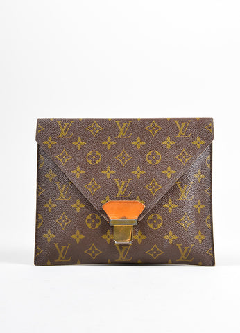"Louis Vuitton Brown Monogram Canvas ""Poche Plate 30"" Envelope Clutch Bag Frontview"
