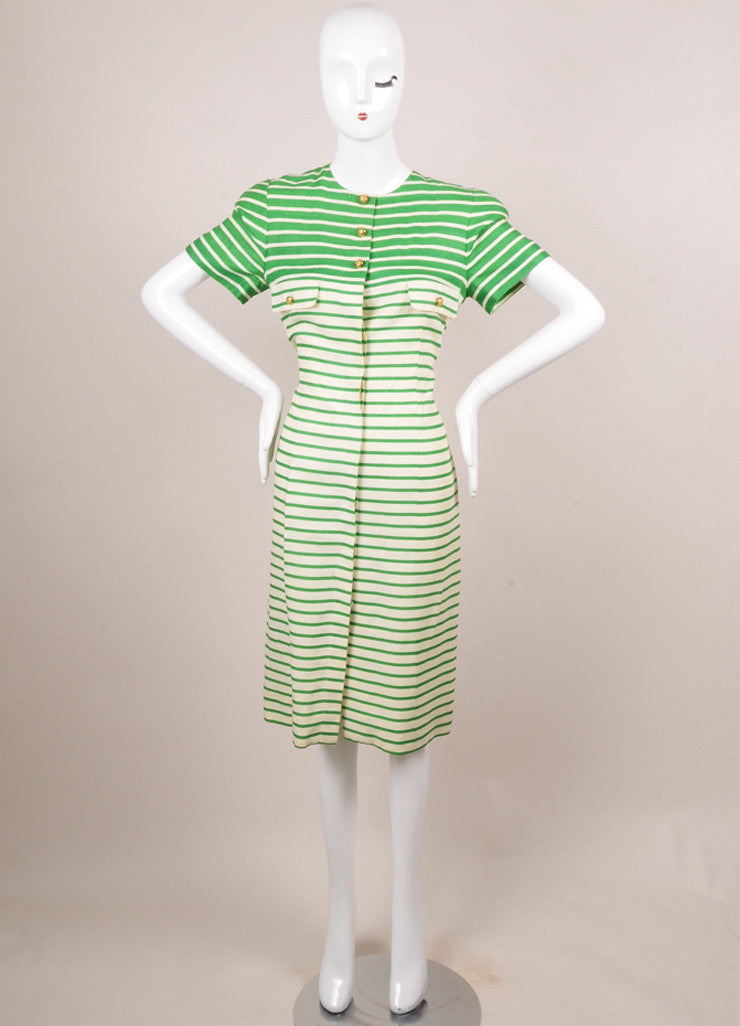 Nipon White and Green Striped Linen Button Up Short Sleeve Dress Frontview