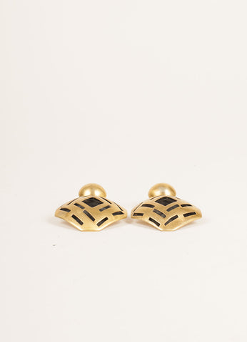 Vaubel Gold Toned and Black Geometric Cut Out Earrings Sideview