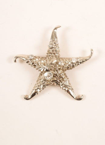 Versace Silver Toned and Clear Rhinestone Embellished Starfish Pin Brooch Frontview