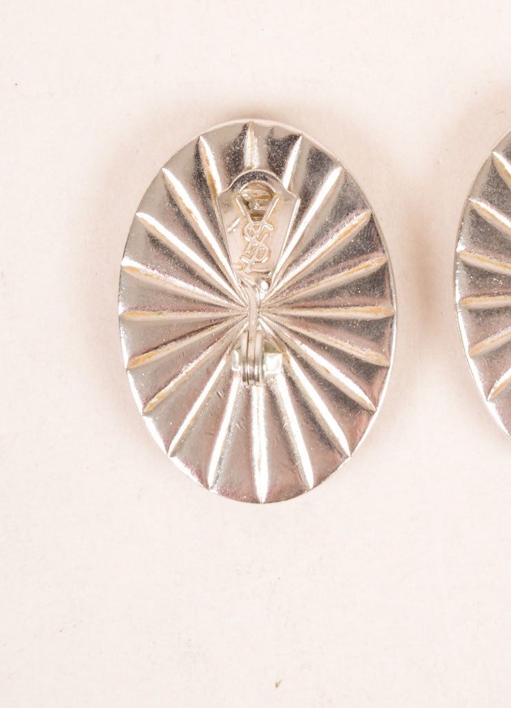 Yves Saint Laurent Silver Toned and Cream Flat Stone Face Oval Earrings Brand
