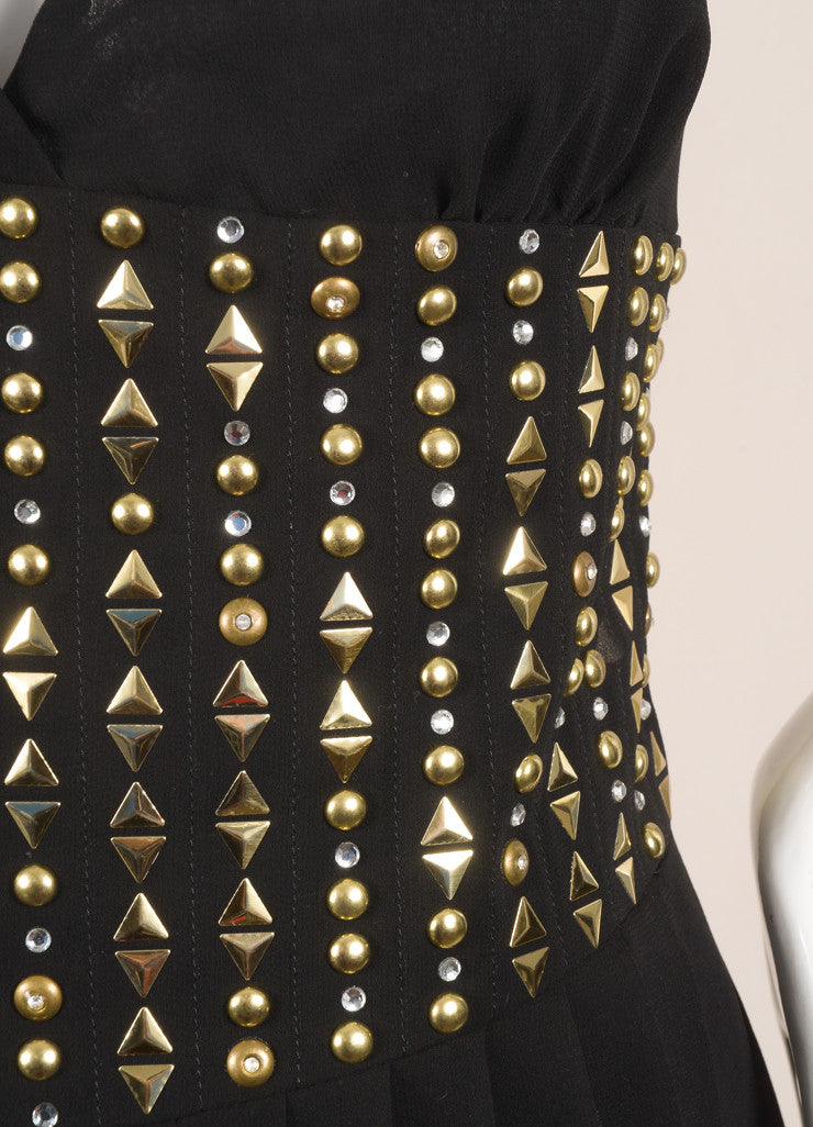 Versace New With Tags Black and Gold Chiffon Studded Pleated Dress Detail