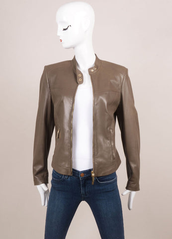 Versace Taupe Leather Zip Motorcycle Jacket Frontview