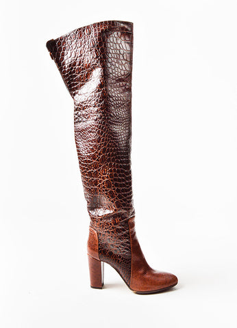 Brown Viktor & Rolf  Lizard and Embossed Leather Over The Knee Boots Sideview