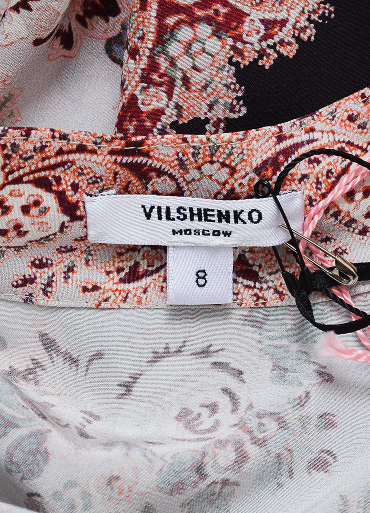 Vilshenko Light Multicolor Silk Floral Paisley Long Sleeve Blouse Brand