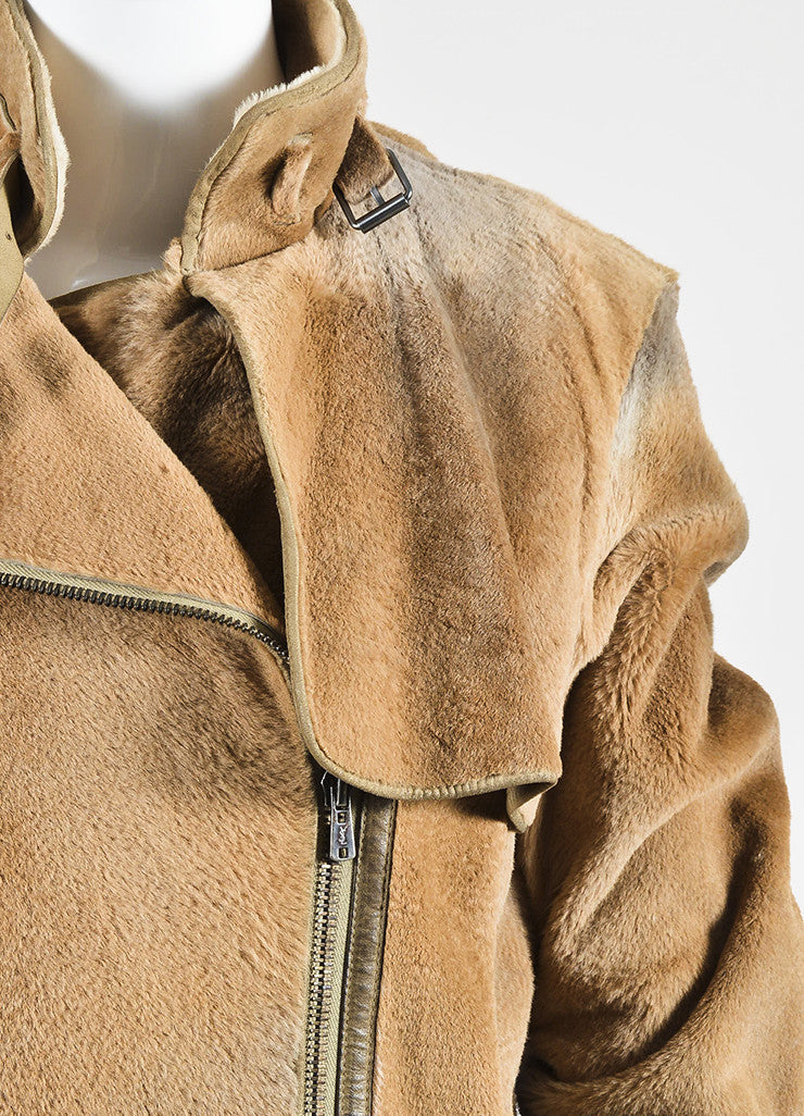 Caramel Tan Yves Saint Laurent Rive Gauche Fur and Leather Long Trench Coat Detail