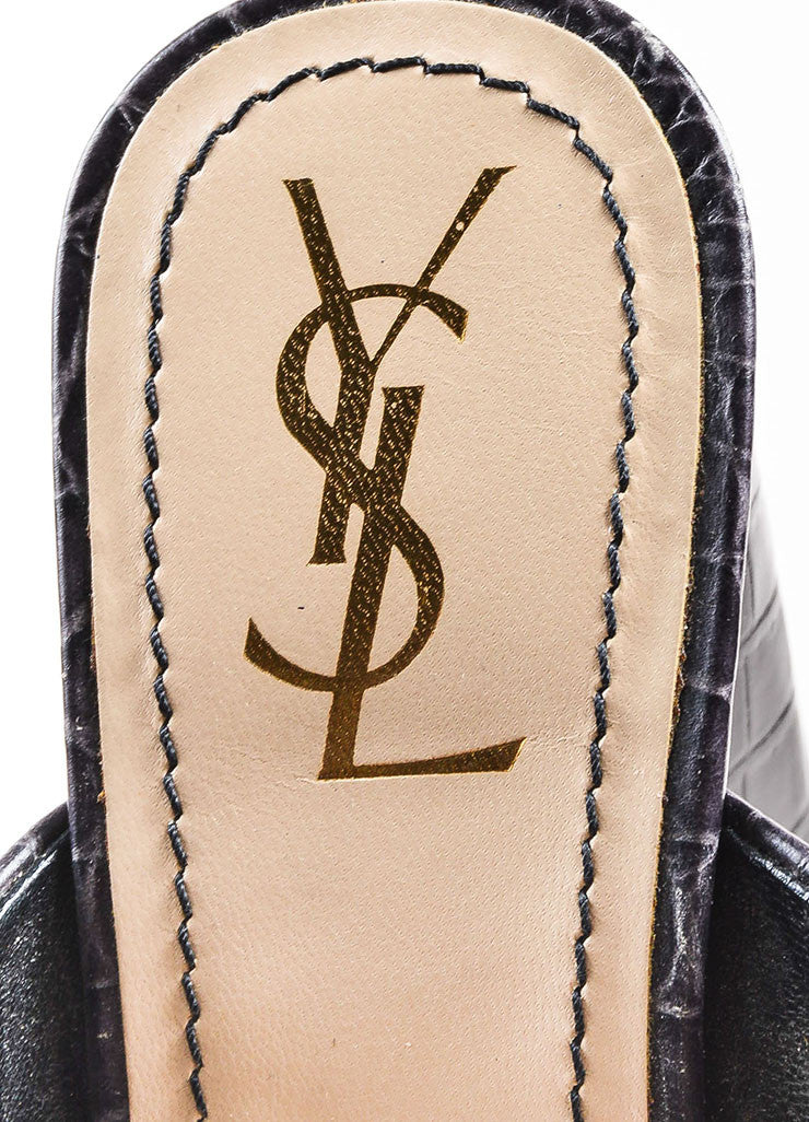 Yves Saint Laurent Grey Embossed Leather High Heel Mule Sandals Brand