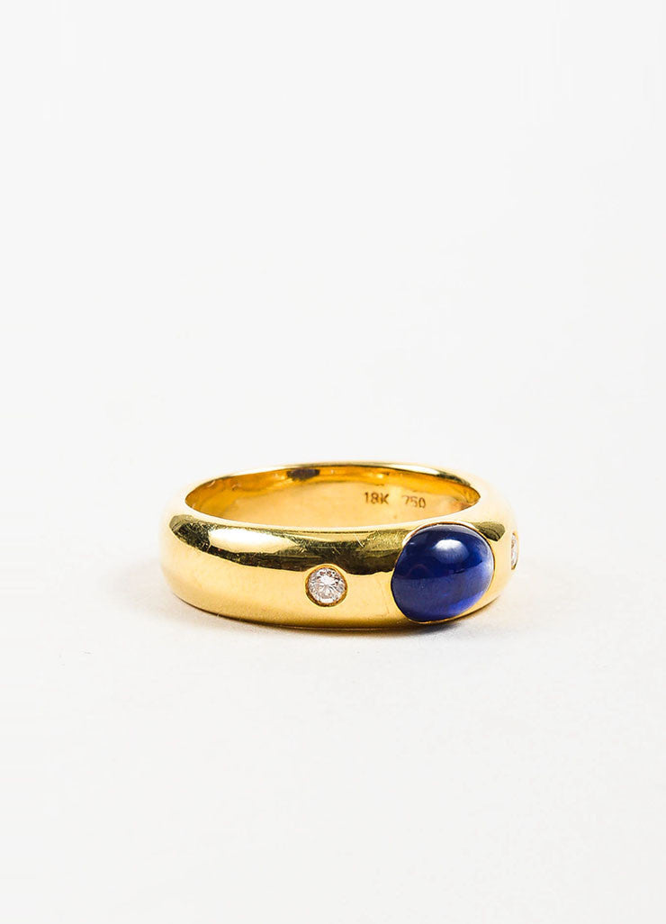 18K Yellow Gold, Oval Sapphire, and Diamond Ring Sideview
